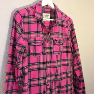 Abercrombie & Fitch Pink Plaid Flannel Shirt
